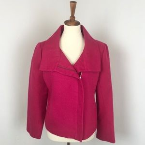 Talbots   Asymmetrical Tweed Zip Up Jacket